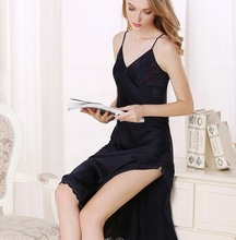 100% high class hot sexy V long silk night dress ladies sleeping silk nighty wear FLKT634