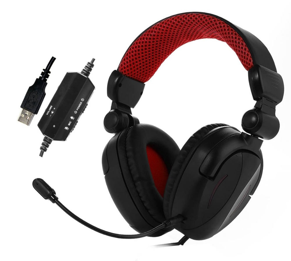 wholesale LED light USB computer stereo headphones 7.1 Surround Sound Stereo PC foldable Gaming Headset with detachable mic