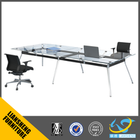 Modern office conference table top glass price/wooden top tempered glass meeting table