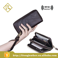RFID genuine leather Clutch bag soft leather women's wallet