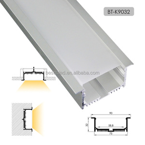 Factory supply fine anodized surface treatment W90*H32mm recessed mounted aluminium led strip light profile for linear light