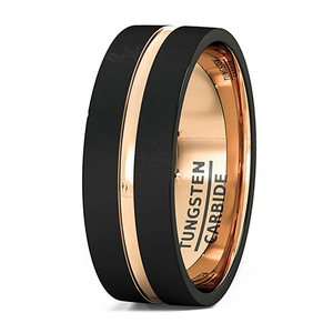 rose gold and black plated 8mm men's tungsten carbide sandblasting nozzle