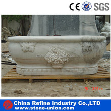 flower carved natural stone bath tubs