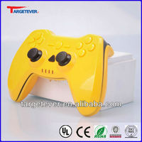 2.4G wireless ABS Yellow upper shell UV paiting two vibration fashionable game controller for PS3