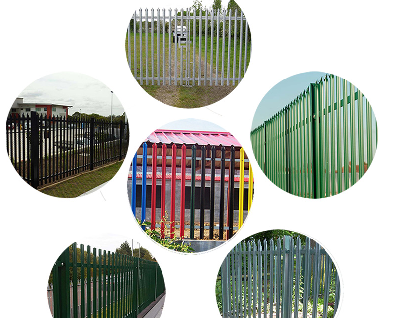 2.1m steel triple pointed palisade fence bays for railway