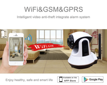 smart control WIFI GSM wireless home automation burglar alarm system with infrared security camera