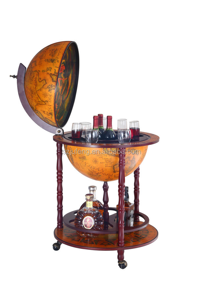 "17.7""/450mm Diam Wooden Antique Furniture Globe Wine Bar Cabinet"