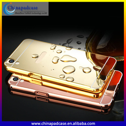 2016 In stock New Luxury Aluminum Ultra-thin Mirror PC Phone Case for OPPO R9 Plus/Metal Bumper Mirror back cover case For OPPO