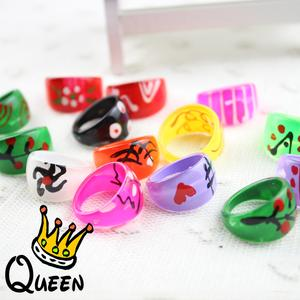 Kids Top Quality Promotional Colored DIY Painted Plastic Rings