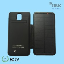 2015 newest solar power bank case for samsung galaxy note 3 with flip leather 4200mAh