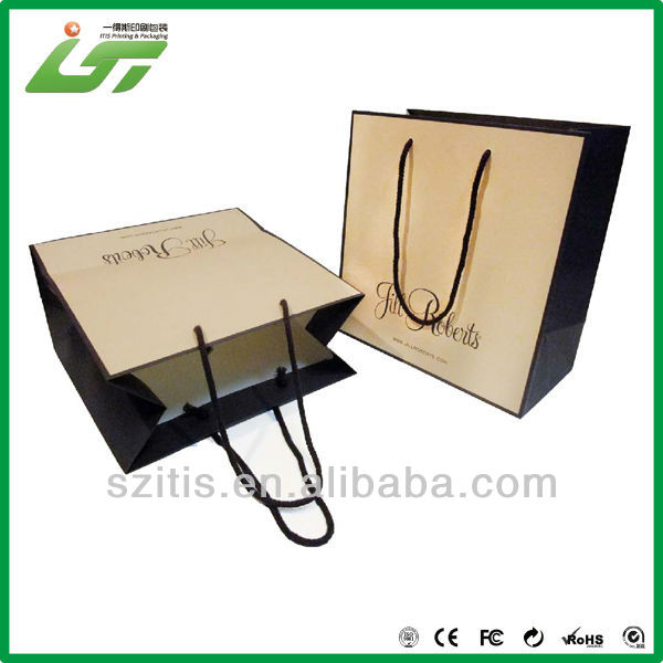 black PP handle and black printing kraft paper shopping bag from China factory