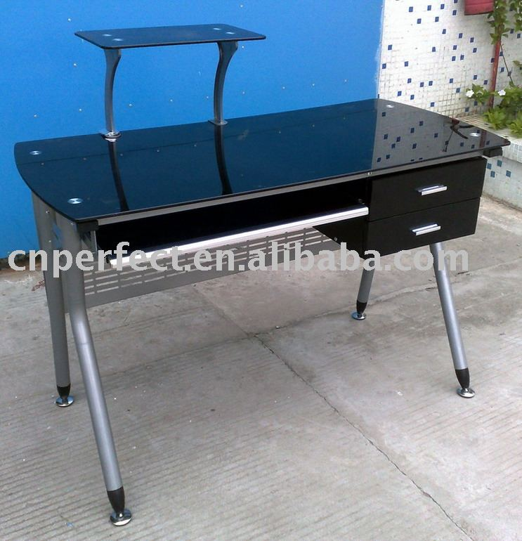 Tempered Glass Computer Desk MDF Office Table With Metal Legs In Furniture