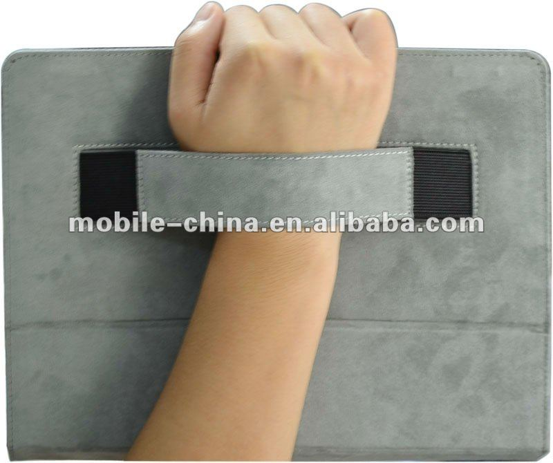 Handhold and stand covers for iPad 2, leather case for iPad 3 with hand strap
