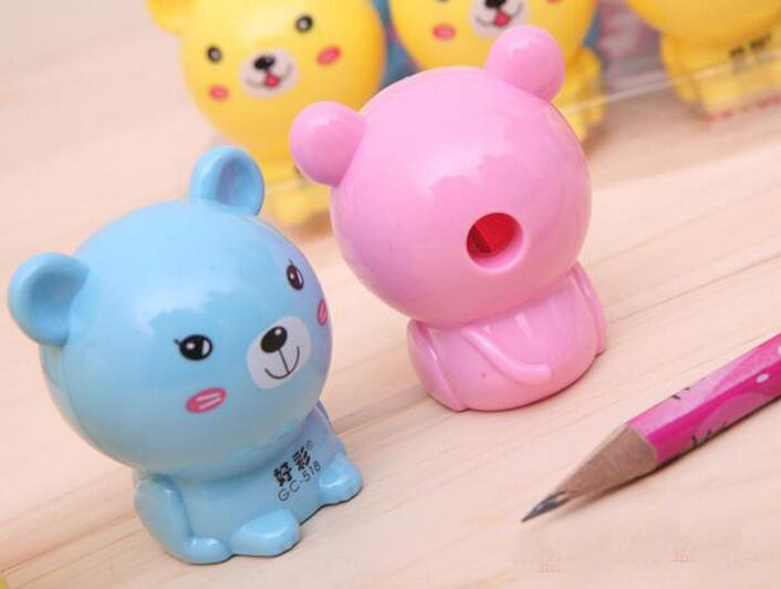 best students prize gifts DIY creative stationery novelty funny kid pencil sharpener cartoon animal bear shape pencil sharpeners