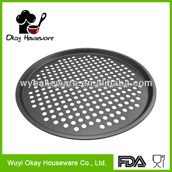Hot sell Carbon steel non-stick perforated baking pizza pan with hole in round shape BK-D2048
