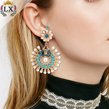 ELX-00049 Drop blue bead hanging latest design charm artificial pearl crystal earring studs