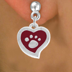 Silver And Red Paw Print Heart Charm Earring