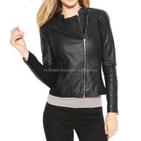 cheap street women leather coats hot selling black ladies leather jacket,Ladies' PU jackets with rivets