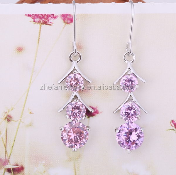wholesale brass earring candy color cz antique italian jewelry