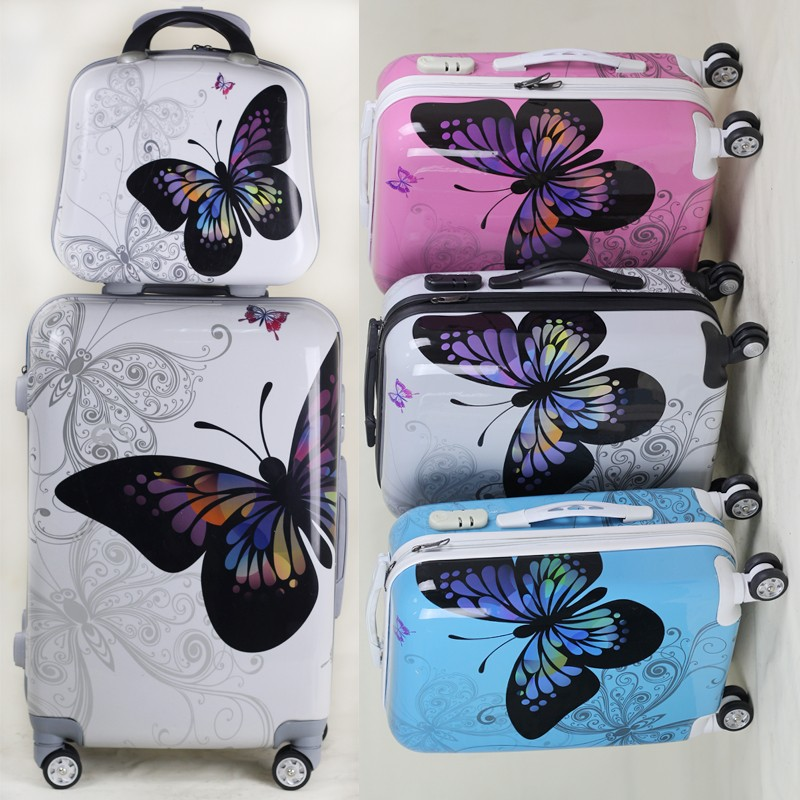 "14 "" 20"" 24 "" 28 inch 4 piece butterfly suitcase luggage set easy trip with makeup"