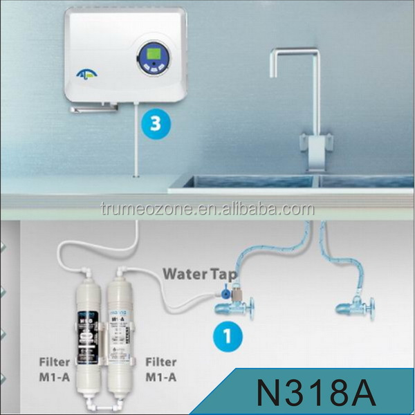 Tap-mounted ozone bottled water, ozone water kit