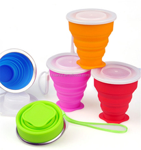 New product 2017 Novelty innovative product of 250ml silicone camping collapsible travel pocket drink cup with handle rope