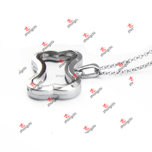 Alloy Silver floating Plain Dog Bone Charms Lockets necklace (DBN51114)