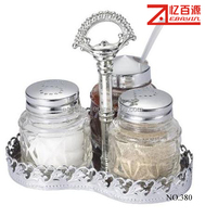 Glass Salt Pepper Kitchen Cruet Bottles Set