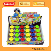 HY611 New Design Kids Sharp Shooter Flashing Plastic Toy Spinning Top 24PCS Pack