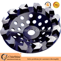 Fast grinding floor arrow metal bonded diamond cup grinding wheel for concrete