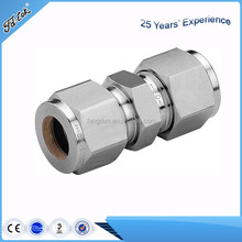 Reducing union double ferrule tube fitting/double ferrule compression fitting/straight union 3/8 tube fitting for water gas oil