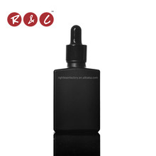 Free samples! 15ml 30ml black glass dropper bottle beard oil black glass dropper bottle with tube cardboard for essential oil