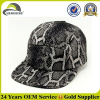 Fashion Custom Snakeskin Plain 5 Panel Cap
