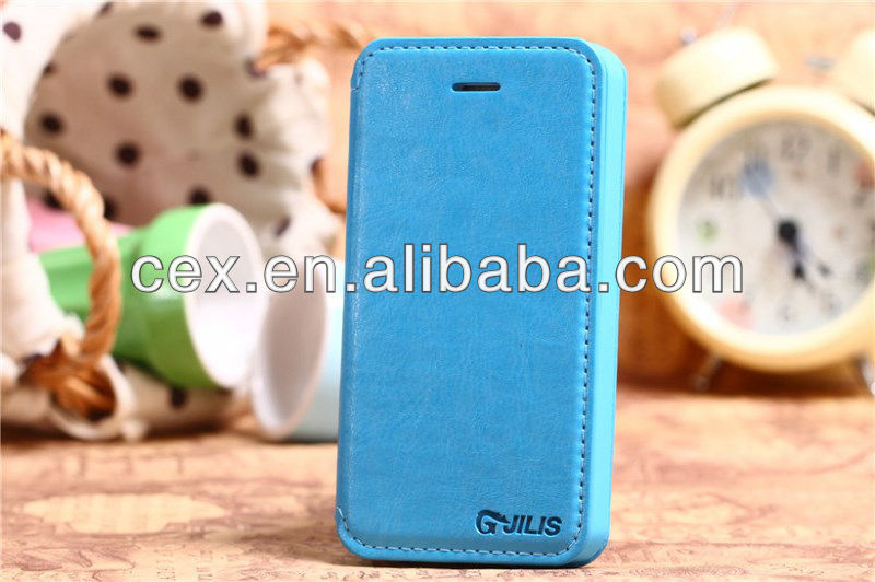 for iPhone 4 4s Classical PC+PU Leather Stand Case -Blue color