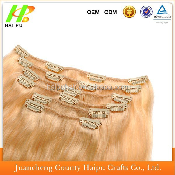 aliexpress hot sell high quality 100% natural indian/brazilian human hair clip in hair extension