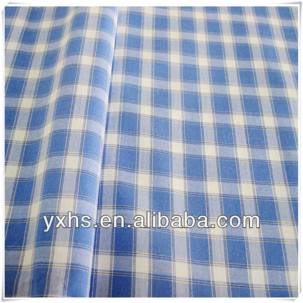 100% cotton yarn dyed blue navy plaid fabric for shirt