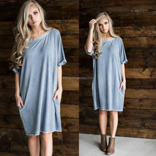 Latex Dress 95% Rayon 5% Spandex Super Soft Heavy French Terry Oil Washed Denim Boxy Knit Dress With Side Pockets