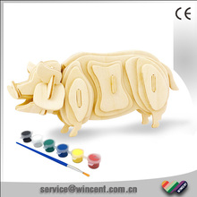 Children Educational Toys Drawing Pig Wooden Custom 3D Puzzle