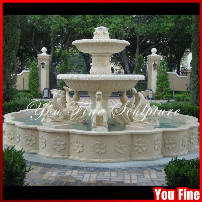 Marble Pictures of Water Fountain for Garden with Horse