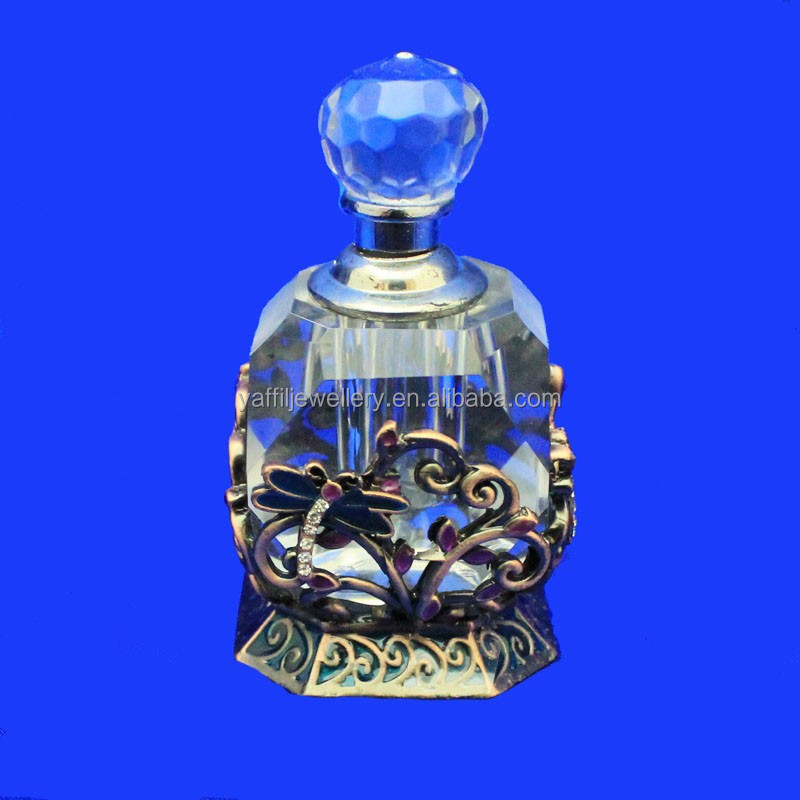 wholesale jeweled perfume glass bottle,pewter perfume bottle with crystal