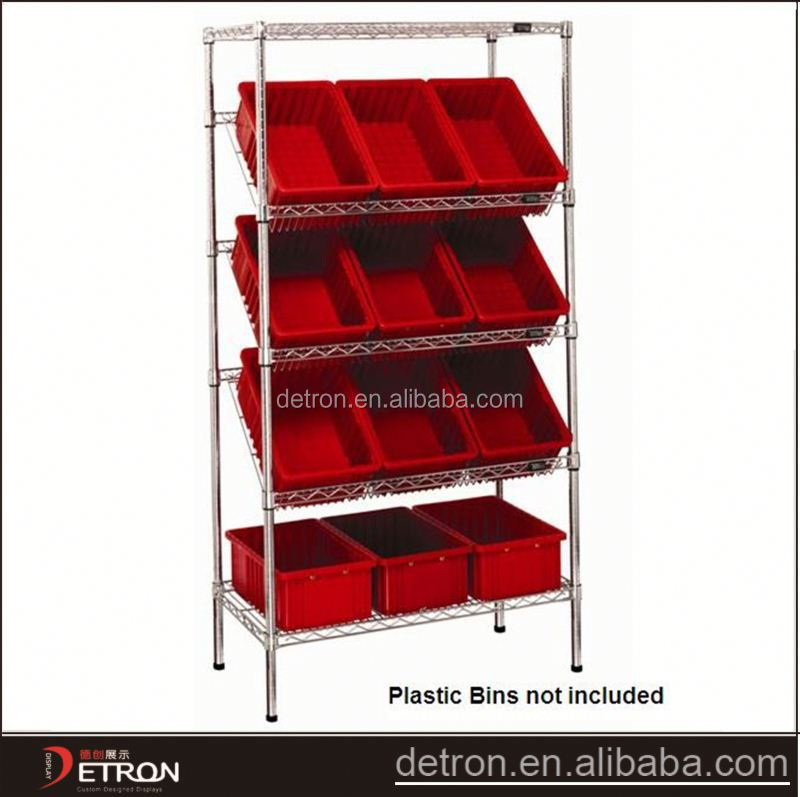 Adjustable storage inclined metal wire shelving