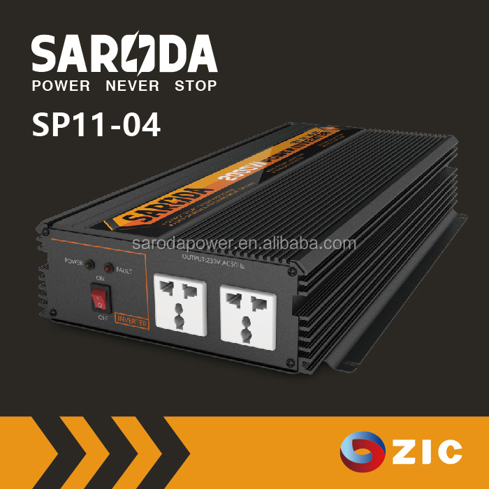SARODA Modified Sine Wave Power converter with battery charger 2000W dc to ac solar power inverter
