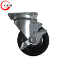 100mm Rubber industrial Caster Wheel with Brake swivel plate