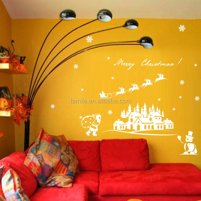 merry Christmas style washable removable wall sticker