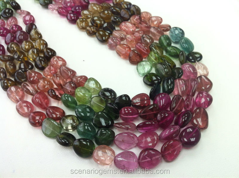 #CMZ Natural Multi-Color Plain Tumble Gemstone beads Tourmaline Necklace