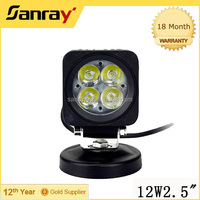 off road fog led light bar, commercial electric led work light Square 12w 2.5inch work light led