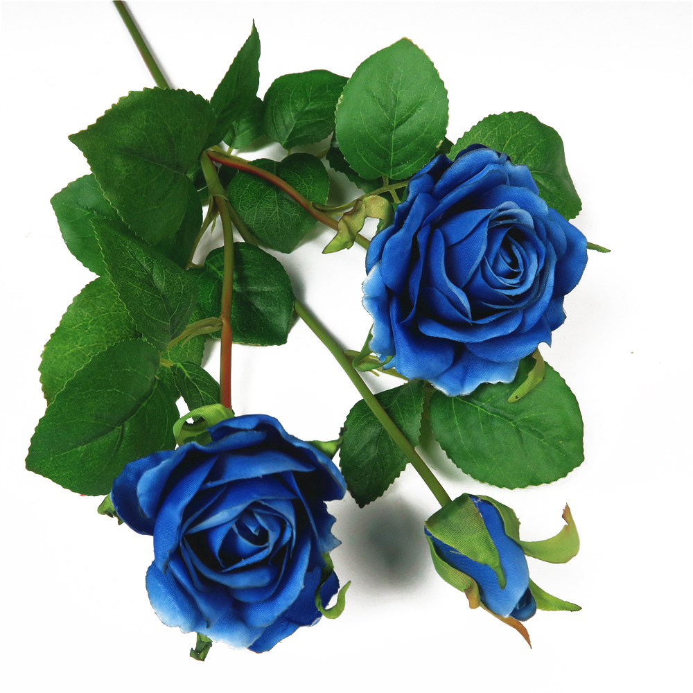 Hot sale fabric artificial royal blue rose flower for your garden