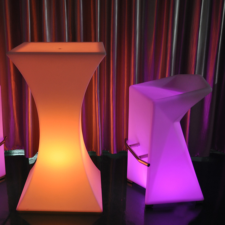 Colorful light LED Plastic Furniture Bar table