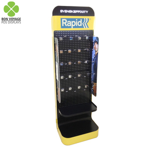 Fashion design metal hanging pegboard display rack with acrylic led logo