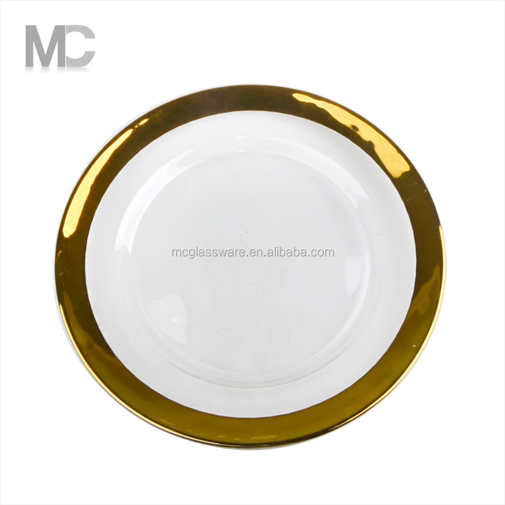 wholesale cheap gold sliver rimmed clear glass charger plates for